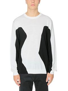 Kenzo-Maglia Lisa Knit in lana bianca nera