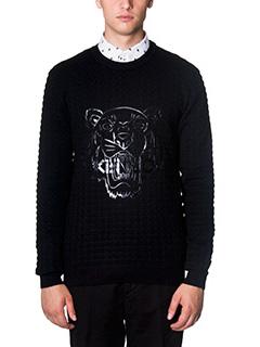 Kenzo-Maglia Silicon Tiger in lana nera