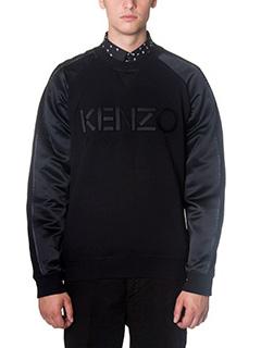 Kenzo-Felpa Logo in cotone e raso nero