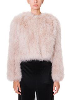 Givenchy-Giacca corta in piume di struzzo e seta  beige