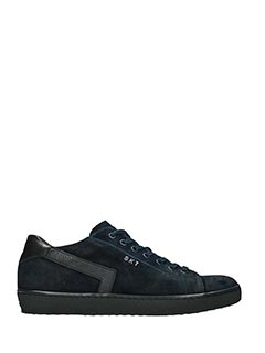 Leather Crown-Sneakers Low in pelle e camoscio nero