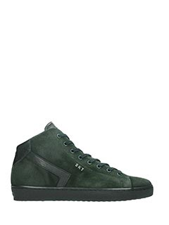 Leather Crown-Sneakers High in pelle e camoscio verde