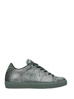 Leather Crown-Sneakers Low in pelle piombo