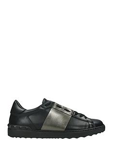 Valentino-Sneakers Low Tripe in pelle nera canna di fucile