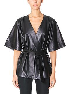 Drome-black leather knitwear