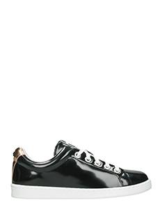 Kenzo-Sneakers Low in vernice nera-dettagli oro