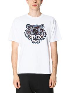 Kenzo-T-Shirt Tiger in cotone bianco