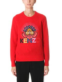 Kenzo-Kenzo Paris logo red wool knitwear