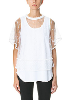 Chlo�-Top in cotone ed tulle bianco
