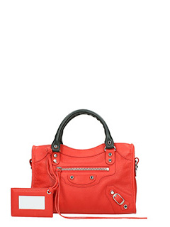Balenciaga-class mini city red leather bag