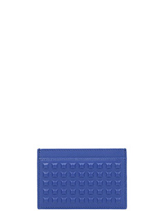 Balenciaga-Portacarte Grid Sd Card in pelle blue