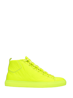 Balenciaga-Sneakers Arena High in pelle gialla fluo