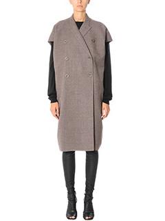 Rick Owens-Cappotto Sl Jmf Dagger Coat in lana dark dust