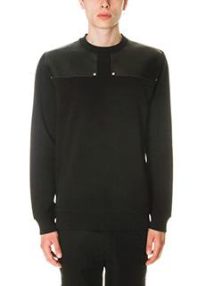 Givenchy-Felpa in cotone e pelle nera
