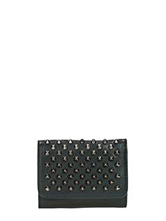 Christian Louboutin-Portafoglio Macaron Mini Wallet in pelle nera