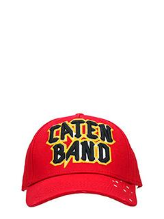Dsquared 2-Cappello Caten Band in cotone rosso