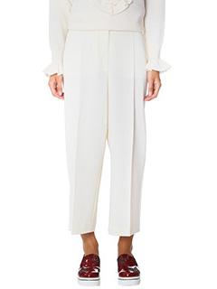 Stella McCartney-Pantaloni in lana crema