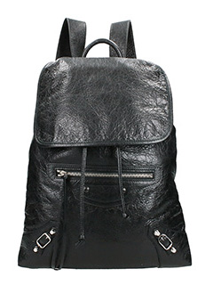 Balenciaga-Class traveller black leather backpack