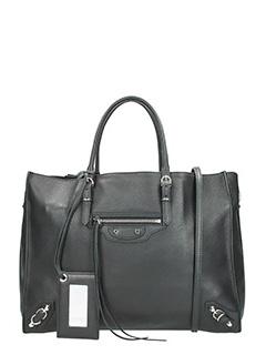 Balenciaga-Borsa Papier Zip Around in pelle nera