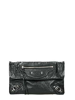 Balenciaga-Clas envestr aj black leather clutch
