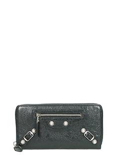 Balenciaga-Portafoglio Giant  Zip Around  in pelle nera