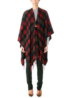 Balenciaga-Poncho in lana nera rossa