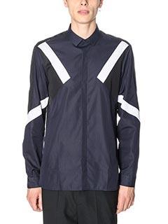 Neil Barrett-Camicia Colour Block in cotone blue nero bianco