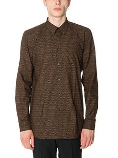 Givenchy-Camicia in popeline di cotone nero marrone