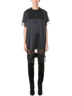 Givenchy-Vestito in seta e pizzo nero