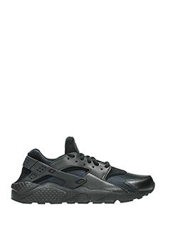 Nike-Sneakers Huarache Run in pelle e camoscio nero
