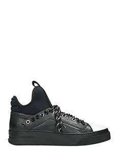 Bruno Bordese-Sneakers Low Tab Rip in pelle e neoprene nero