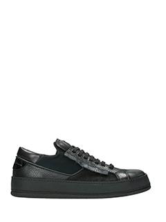 Bruno Bordese-Sneakers Low Tab Rip in pelle e camoscio nero