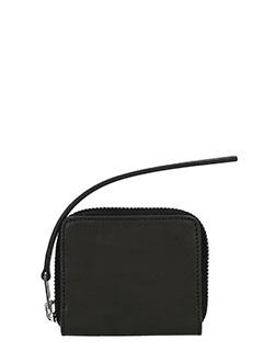 Rick Owens-Portafogli Zipper Credit in pelle e camoscio nero