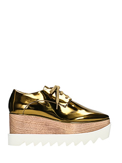 Stella McCartney-Stringate Elyse in eco pelle bronzo gold-plateau in legno 5 cm