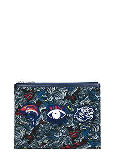 Kenzo-Pochette Multi Icons in pelle e tessuto blue