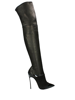 Casadei-Blade black suede and leather boots