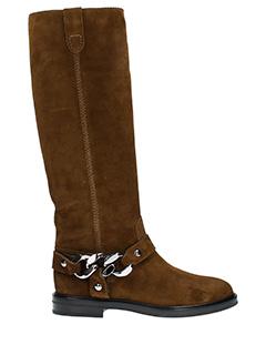Casadei-City rock brown suede boots