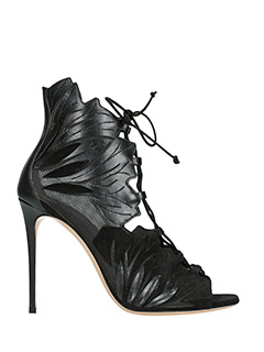Casadei-Evening black suede and leather sandals