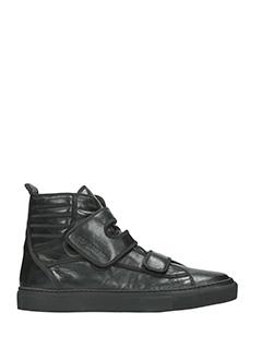 Raf Simons-Sneakers Higth in pelle nera