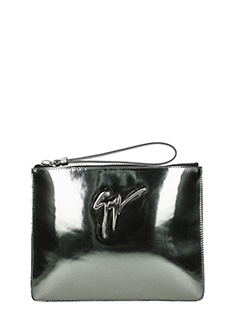 Giuseppe Zanotti-Signature silver leather clutch