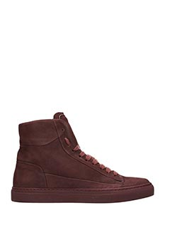 Low Brand-Sneakers Morris High in camoscio bordeaux