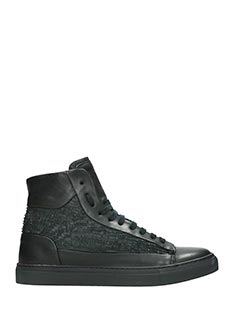 Low Brand-Sneakers Morris High in pelle laser nera