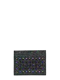 Christian Louboutin-Portacarte Kios Scarabee Simple Card  in pelle nera