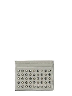 Christian Louboutin-Portacarte Kios Simple Card Holder in pelle grigia