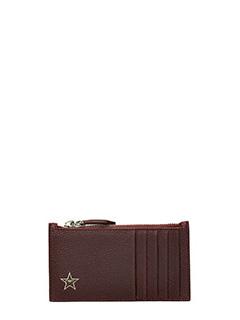 Givenchy-Portafoglio Zip Card in pelle martellata bordeaux