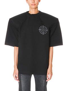 Vetements-T-Shirt Football Shoulder in cotone nero