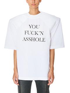 Vetements-T-Shirt Football Shoulder in cotone bianco