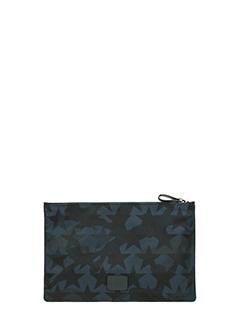 Valentino-Pochette Camustars Small in tessuto camouflage blue nero