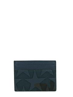 Valentino-Portacarte Camustars in pelle blue