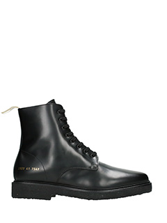 Common Projects-Anfibi Standard Combat in pelle nera